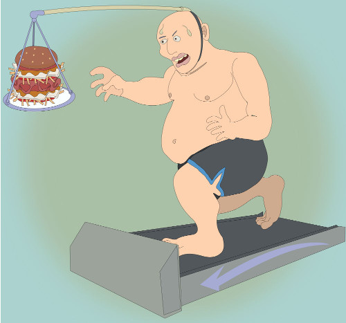 man running on a manual treadmill